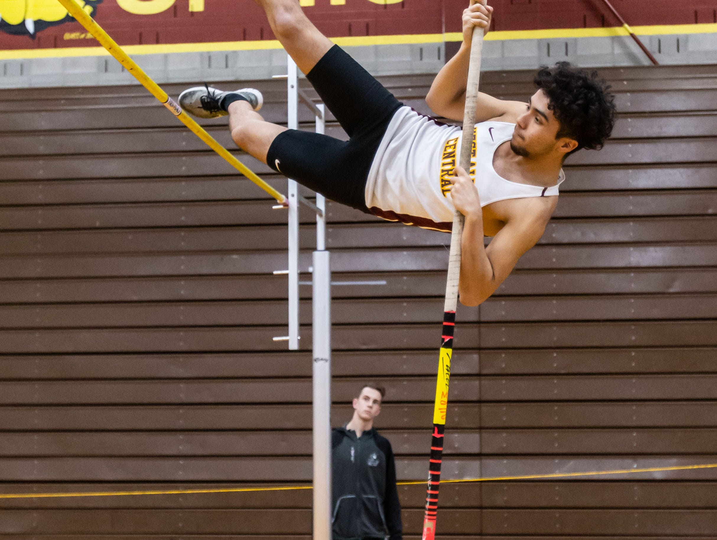 West Allis Central's David Loeza competes on the pole vault at the Reinhard Bulldog Relays hosted by West Allis Central on Friday, March 15, 2019.