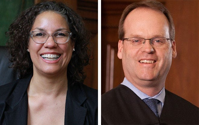 Danielle Shelton (left) is challenging Milwaukee County Circuit Judge Andrew Jones