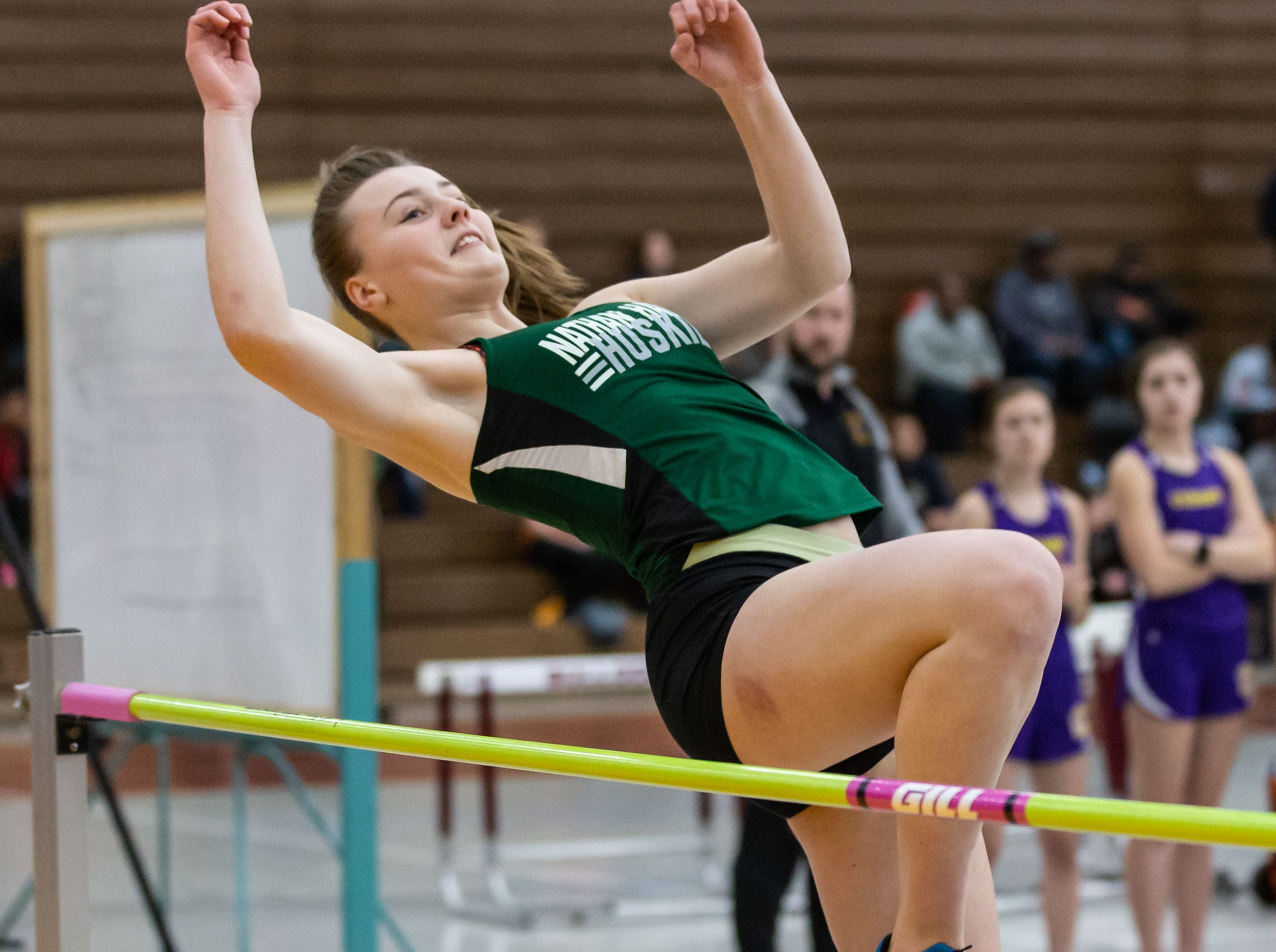 West Allis Nathan Hale's Serina Pehowski competes on the high jump at the Reinhard Bulldog Relays hosted by West Allis Central on Friday, March 15, 2019.