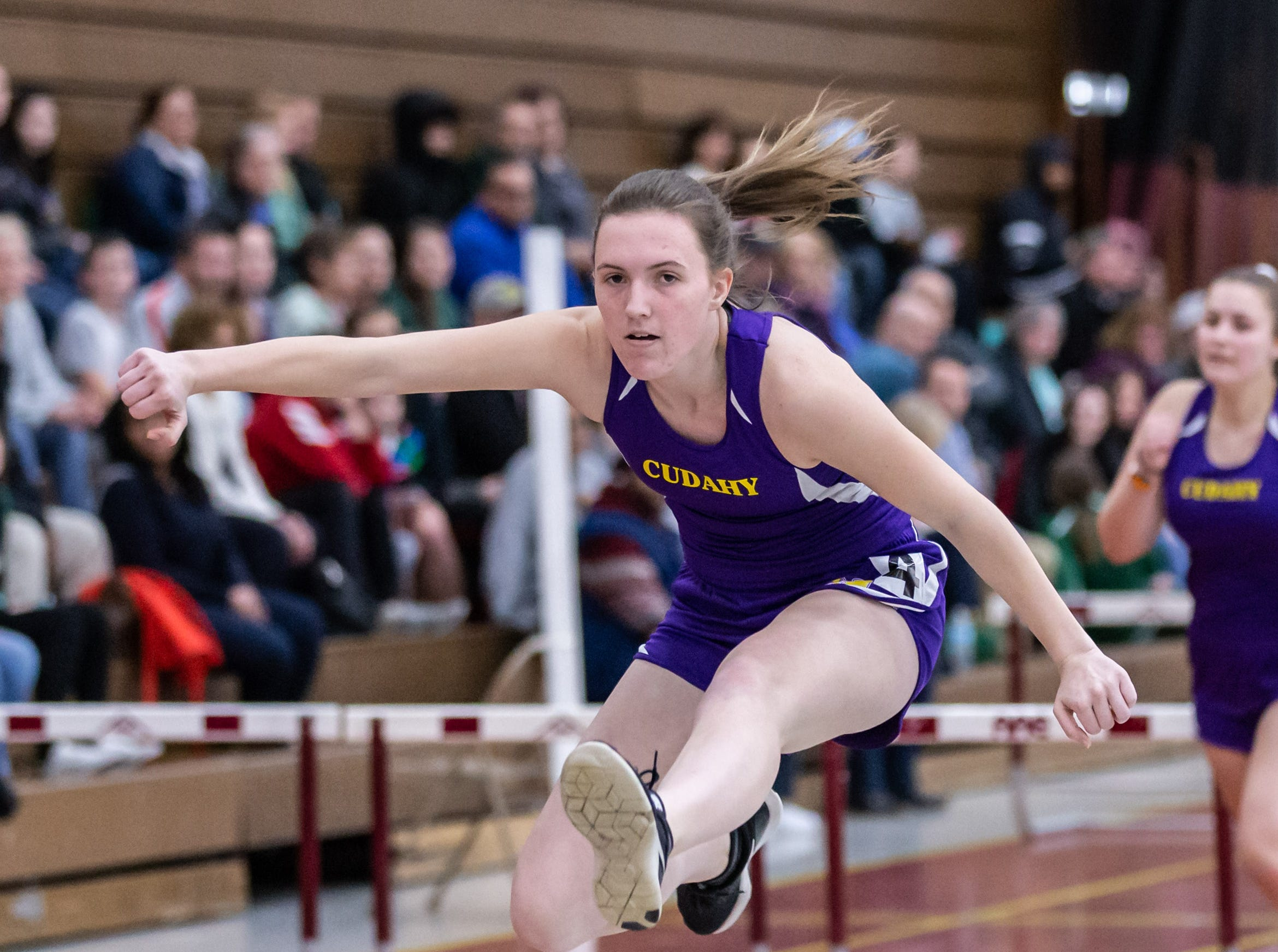 Cudahy's Laura Zager competes in the 55 meter low hurdles at the Reinhard Bulldog Relays hosted by West Allis Central on Friday, March 15, 2019.
