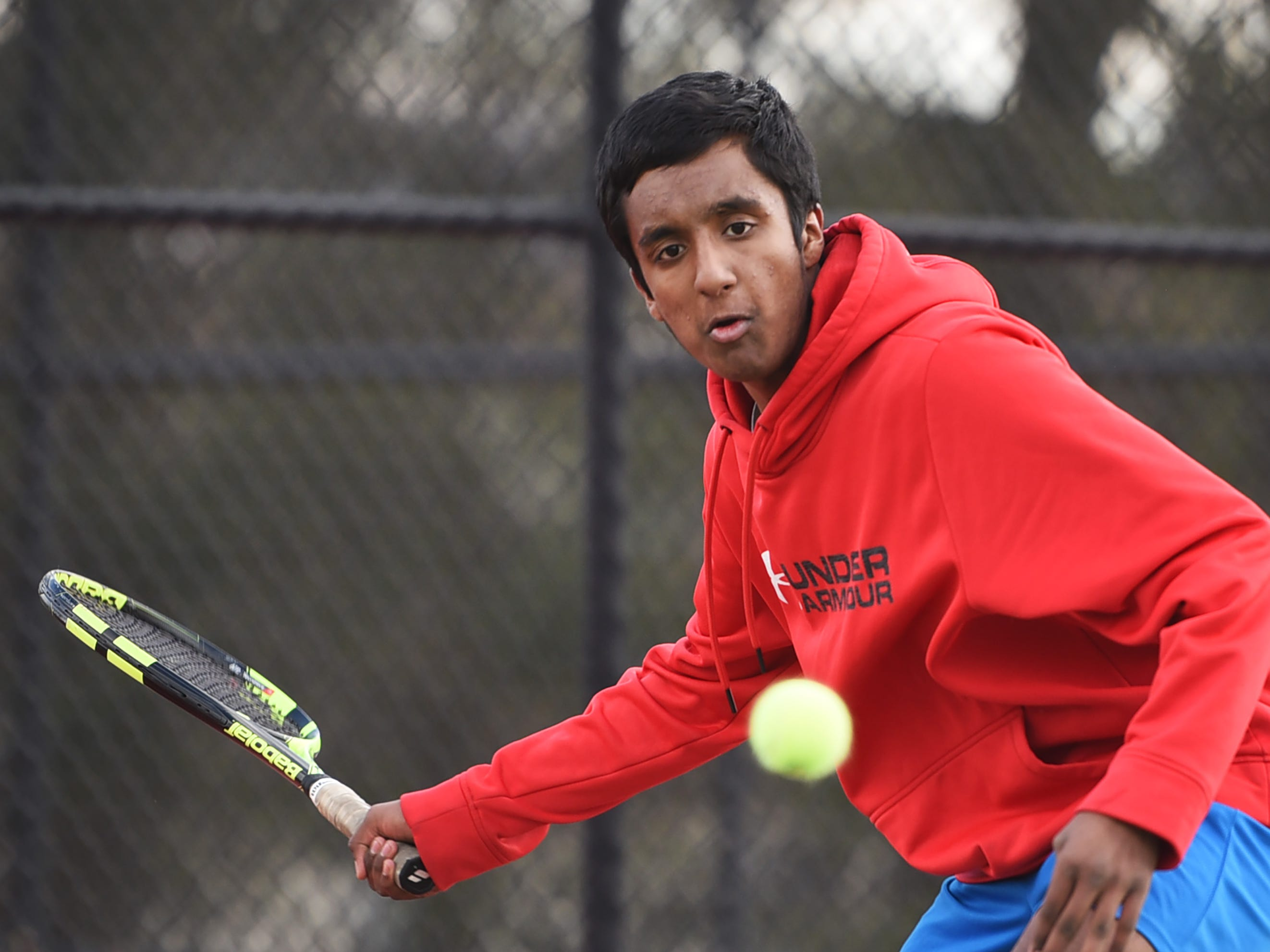Morris Hills senior Vikranth Chinthareddy of Mount Olive plays during a practice, photographed at Morris Hills High School in Rockaway on 03/19/19. This is for the season preview on team diversity.