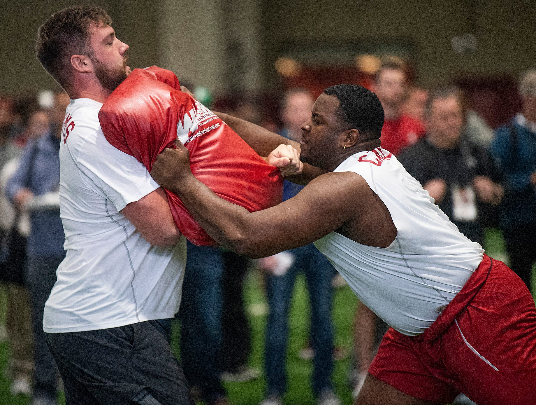 Alabama offensive lineman Jonah Williams and offensive lineman Josh Casher run drills during Pro Day on the University of Alabama campus in Tuscaloosa, Ala., on Tuesday March 19, 2019.