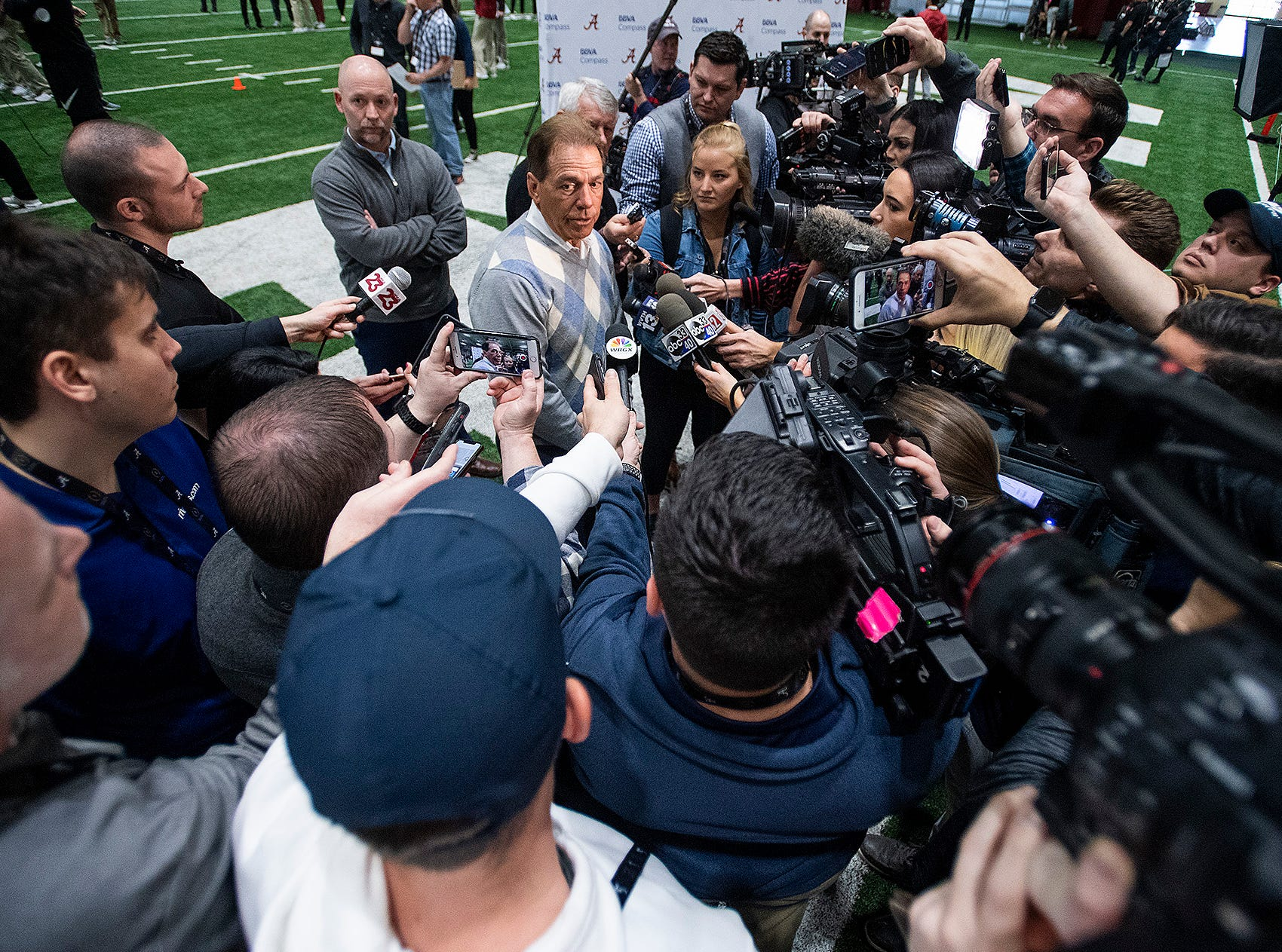 Alabama head coach Nick Saban talks with the media during Pro Day on the University of Alabama campus in Tuscaloosa, Ala., on Tuesday March 19, 2019.