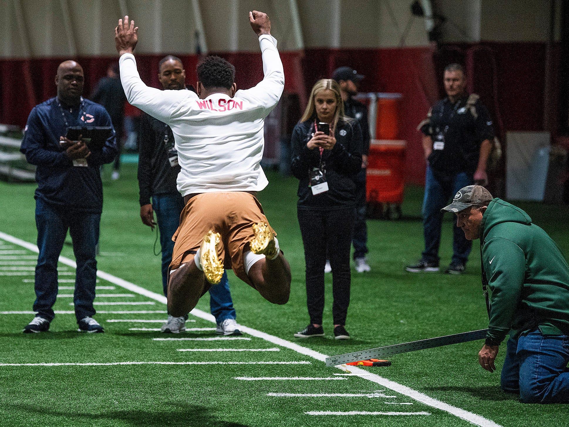 Alabama linebacker Mack Wilson leaps during Pro Day on the University of Alabama campus in Tuscaloosa, Ala., on Tuesday March 19, 2019.