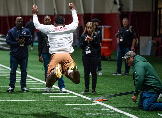 Alabama linebacker Mack Wilson leaps during Pro Day on the University of Alabama campus in Tuscaloosa, Ala., on Tuesday March 19, 2019.