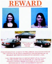This 1999 flyer released by the Ozark (Ala.) Police Department, shows J.B. Beasley, left, Tracie Hawlett, who were both murdered in July 1999. Alabama authorities say a DNA match found through a genealogy website has led to an arrest in the killings of the two teenage girls nearly 20 years ago.
