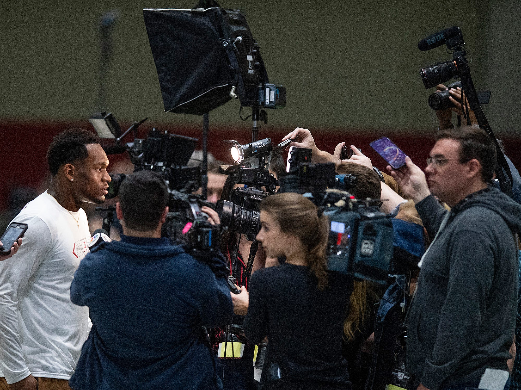 Alabama linebacker Mack Wilson talks to the media during Pro Day on the University of Alabama campus in Tuscaloosa, Ala., on Tuesday March 19, 2019.