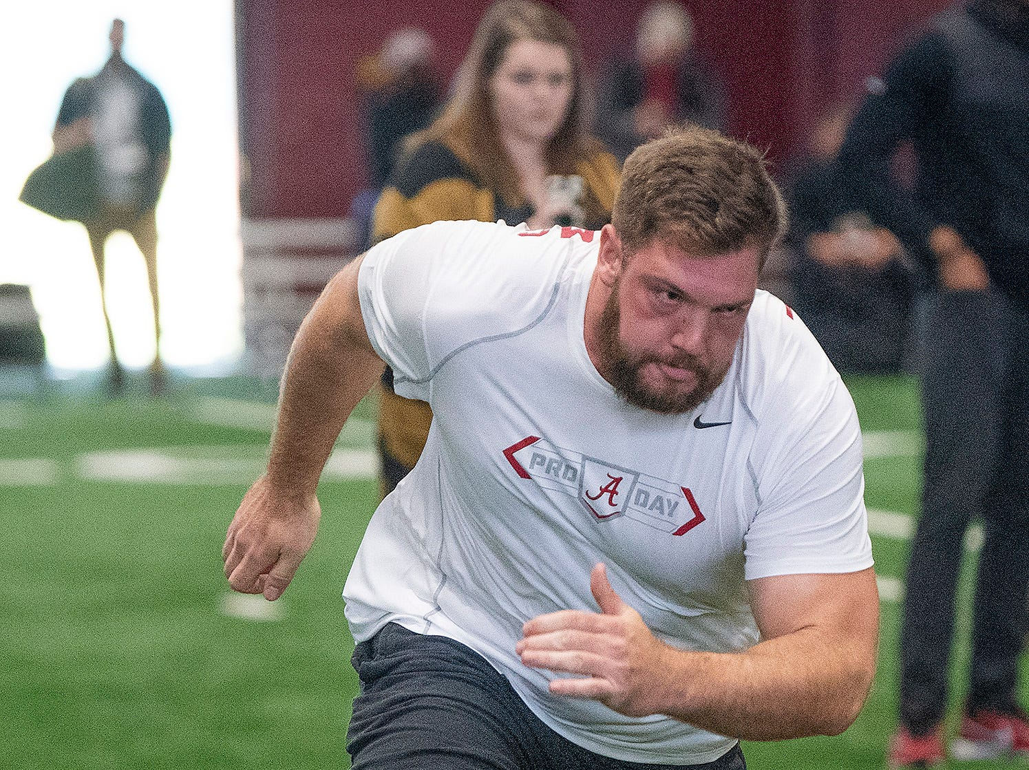 Alabama offensive lineman Jonah Williams (73) during Pro Day on the University of Alabama campus in Tuscaloosa, Ala., on Tuesday March 19, 2019.