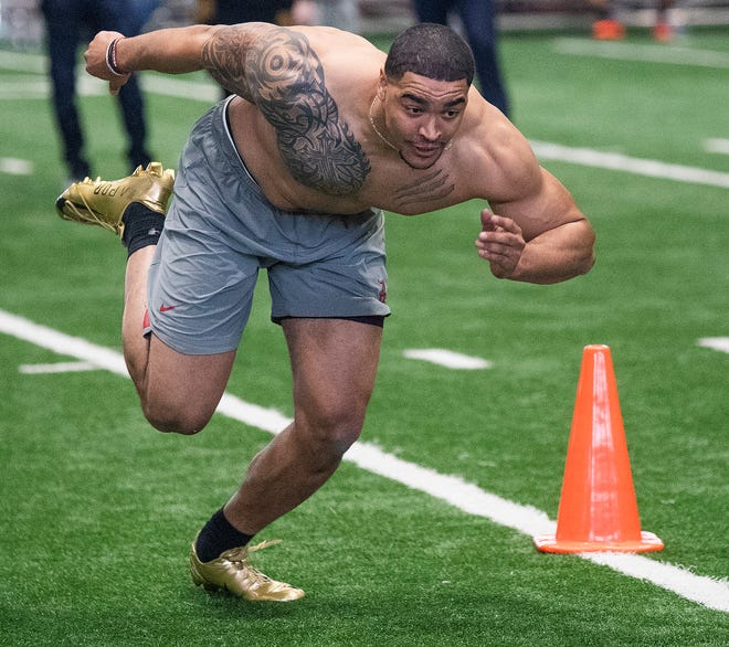 Alabama linebacker Christian Miller during Pro Day on the University of Alabama campus in Tuscaloosa, Ala., on Tuesday March 19, 2019.