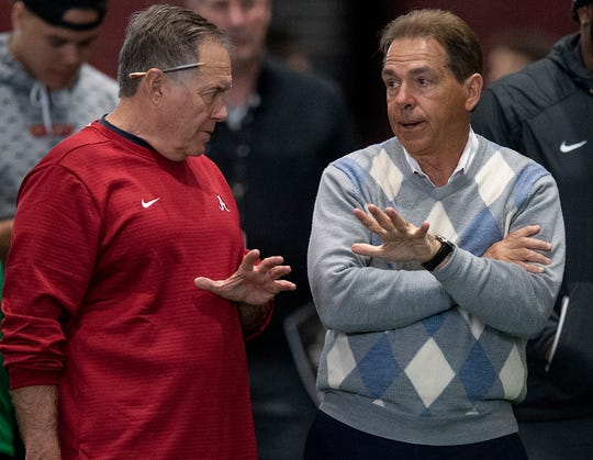 New England Patriots head coach Bill Belichick chats with Alabama head coach Nick Saban during Pro Day on the University of Alabama campus in Tuscaloosa, Ala., on Tuesday March 19, 2019.