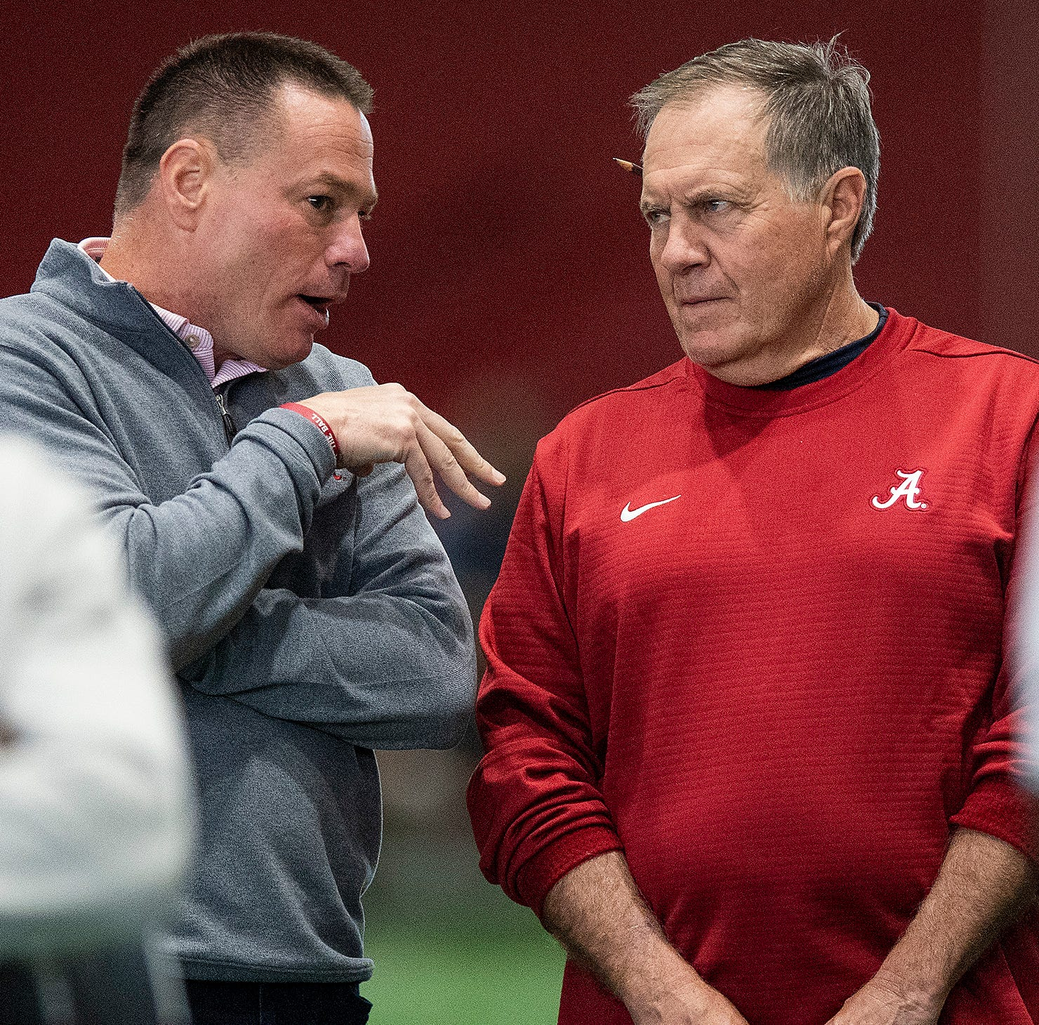 Butch Jones chats up Bill Belichick, Nick Saban in meeting of the minds at Alabama pro day