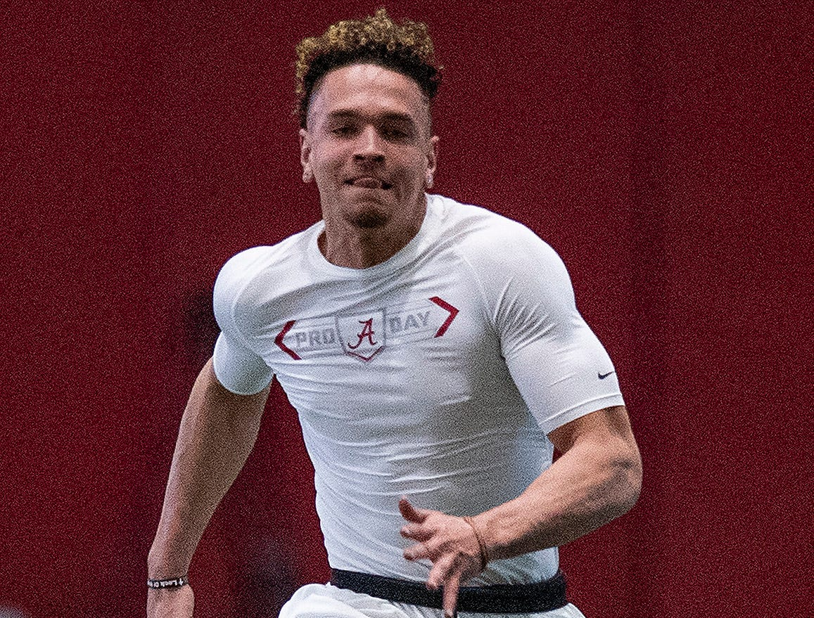 Alabama wide receiver Derek Kief (81) during Pro Day on the University of Alabama campus in Tuscaloosa, Ala., on Tuesday March 19, 2019.