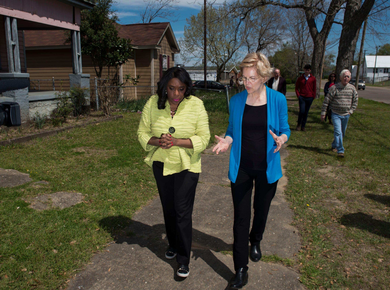 Rep. Terri Sewell and Sen. Elizabeth Warren walk the streets of Selma, Ala., on Tuesday, March 19, 2019.
