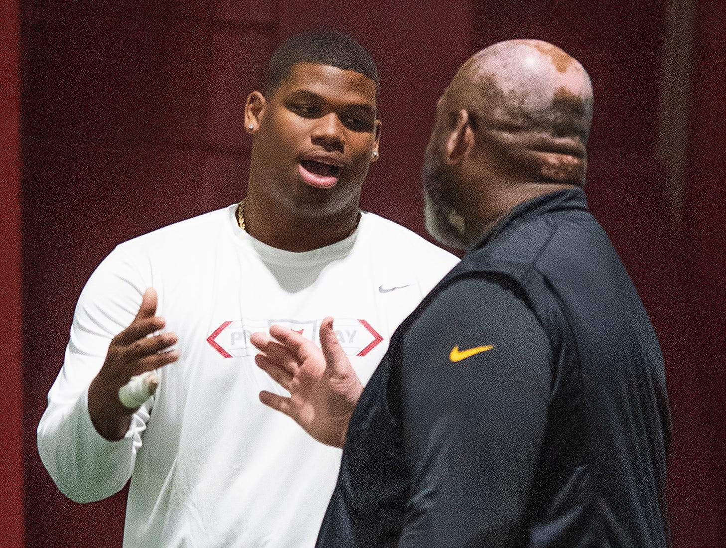 Alabama defensive lineman Quinnen Williams during Pro Day on the University of Alabama campus in Tuscaloosa, Ala., on Tuesday March 19, 2019.