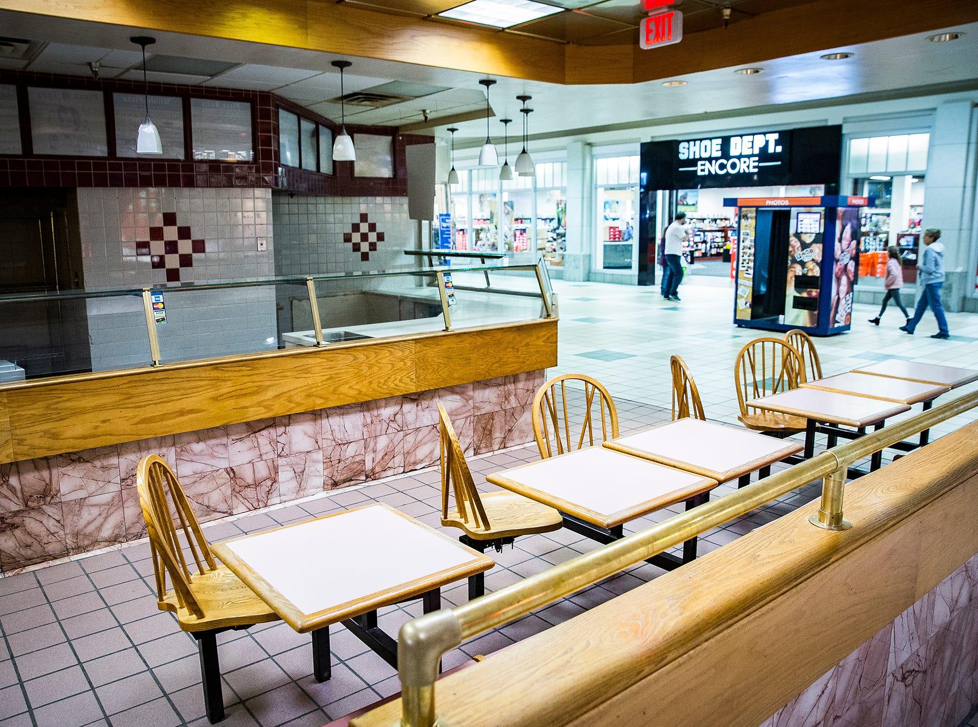 An empty, former restaurant at the Muncie Mall.