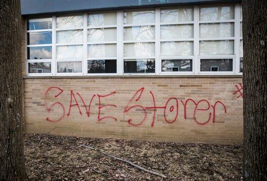 Graffiti mars an exterior wall of Storer Elementary School Tuesday.