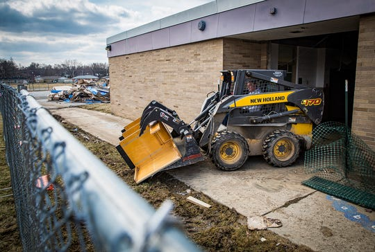 Lockers and cabinets were removed from Storer Elementary School ahead of demolition Tuesday morning.