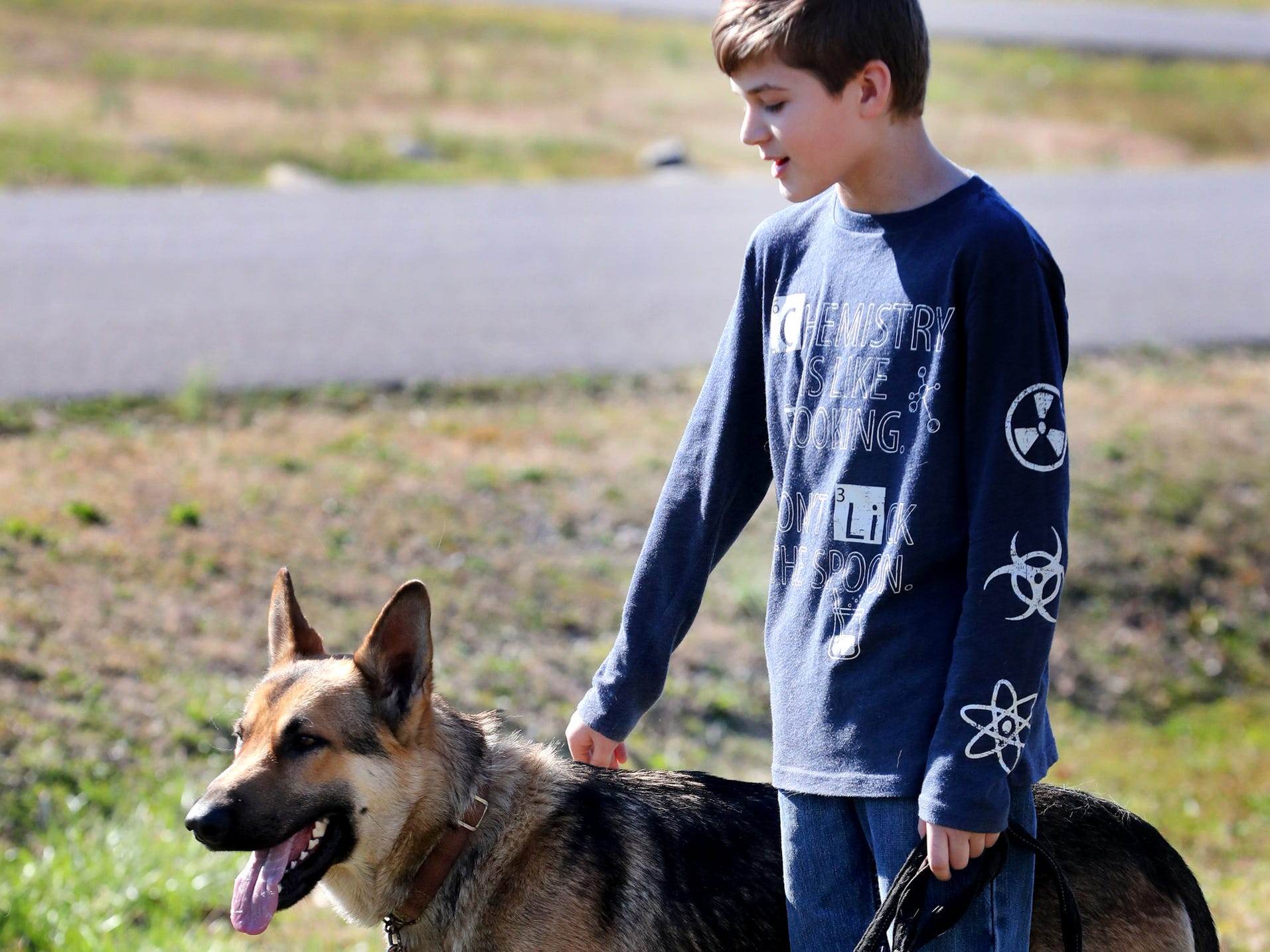 Justin White, 10, was reunited with his dog Goblin on Tuesday, March 19, 2019, after the dog was returned after being officially reported missing since March 10.