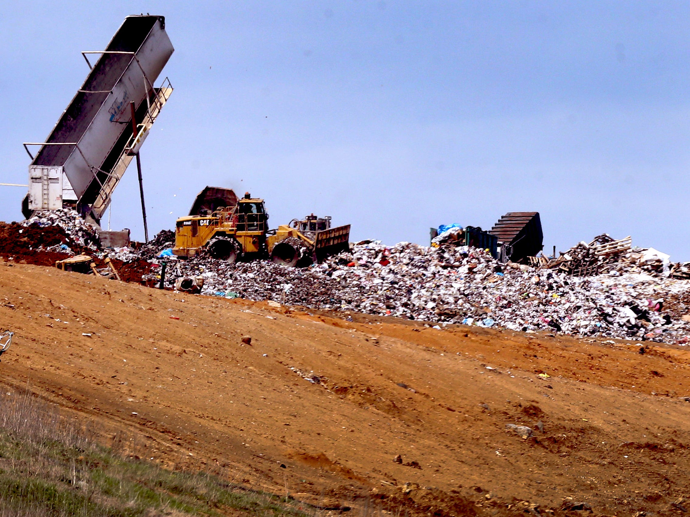 Trash is handled at the Middle Point Landfill in Rutherford County on Wednesday, March 30, 2016.