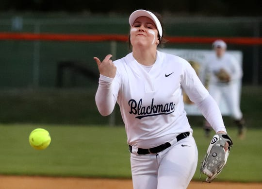 Blackman's Caitlyn Manus (21) pitches against Siegel, on Monday, March 18, 2019, at Blackman.