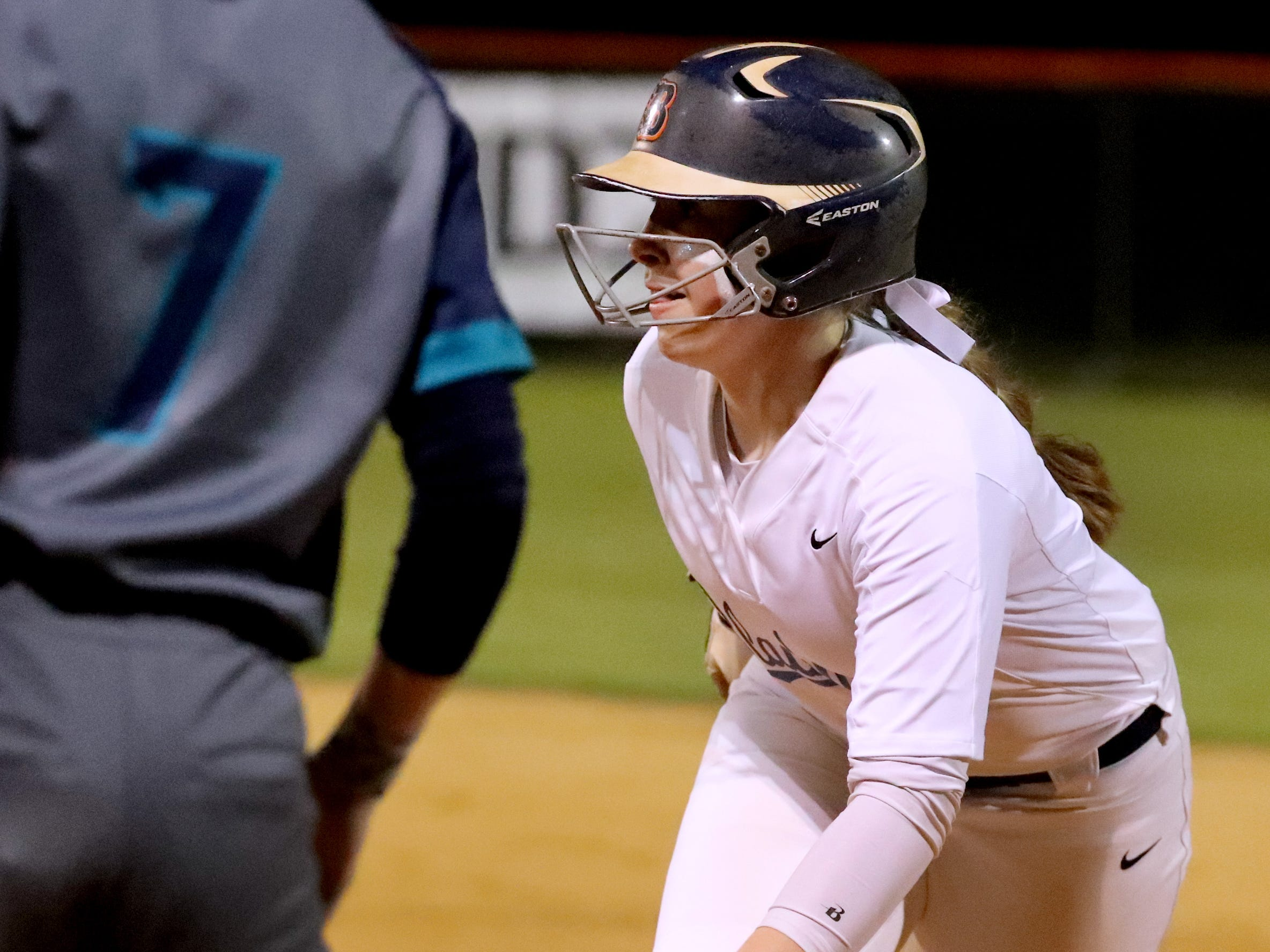 Blackman's Elaina McGill (16) takes a lead off first base during the game against Siegel, on Monday, March 18, 2019, at Blackman.