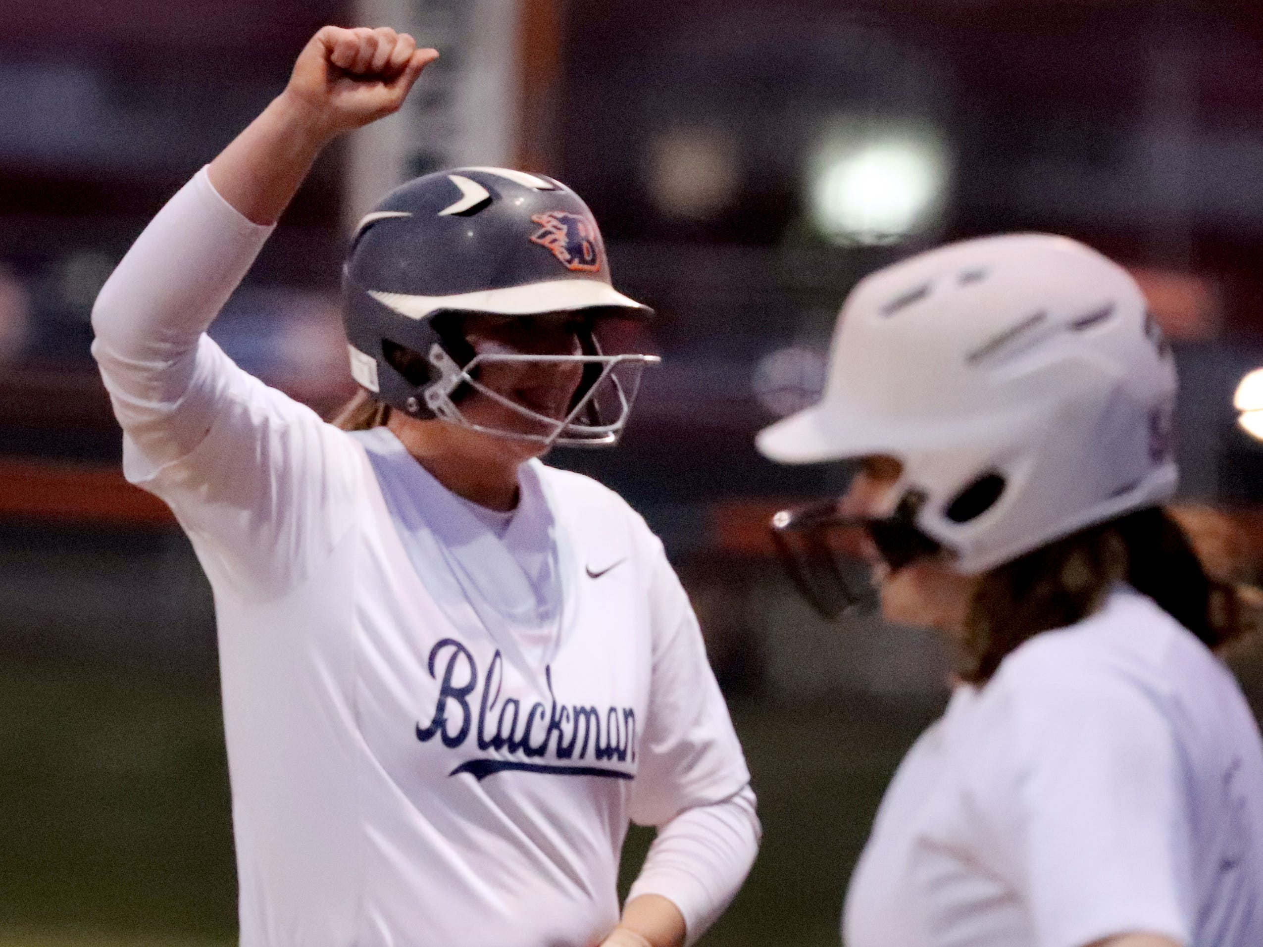 Blackman's Rachel Tarpley (14) celebrates getting on base during the game against Siegel, on Monday, March 18, 2019, at Blackman.