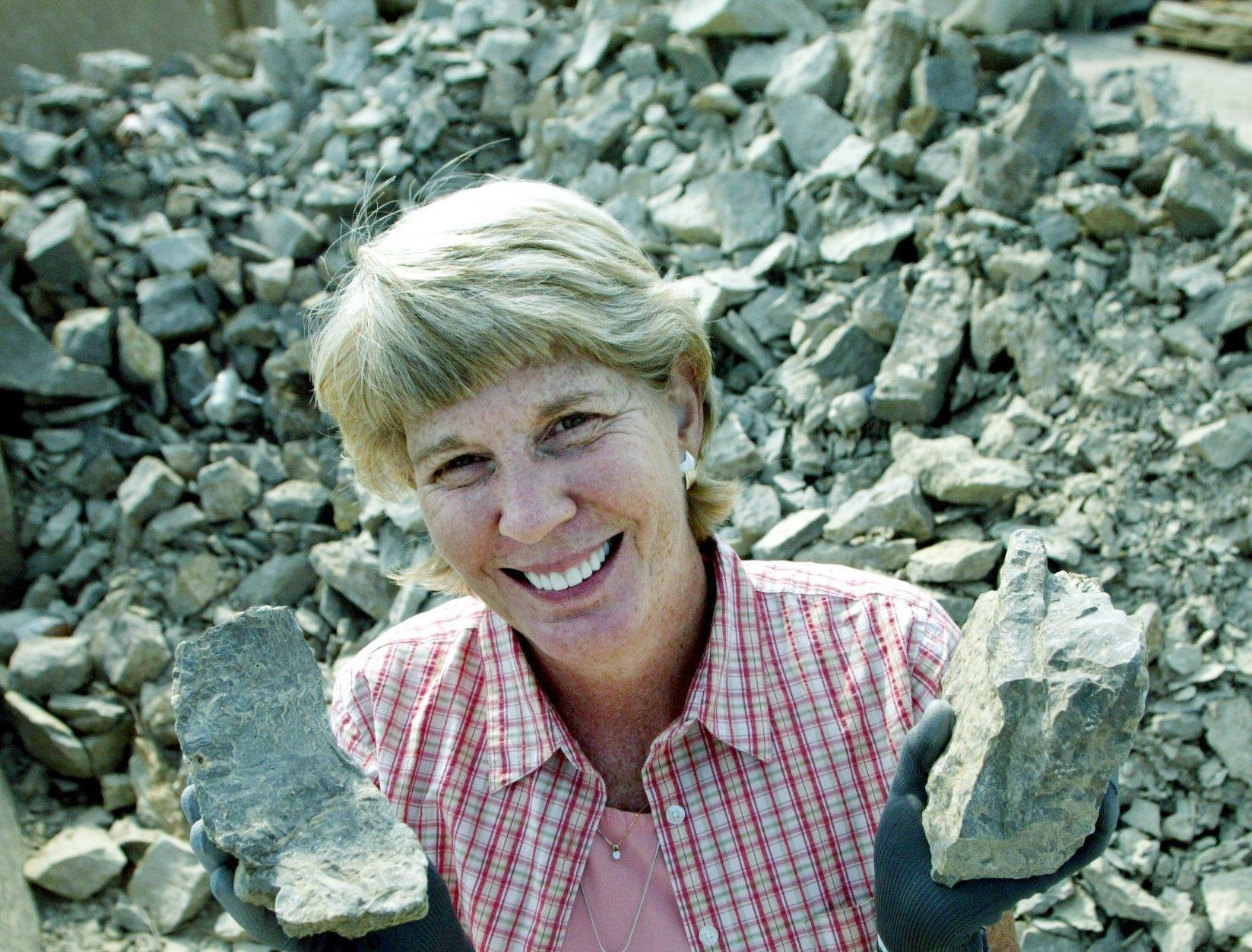 Mary Hance visits the free rock pile at Jones Stones in Nashville on July 17, 2006, for a story on most frequently asked questions of Ms. Cheap.