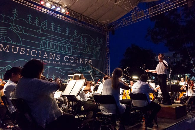 The Nashville Symphony will give free performances in Nashville's Centennial Park and five other outdoor venues for its annual community concert series.