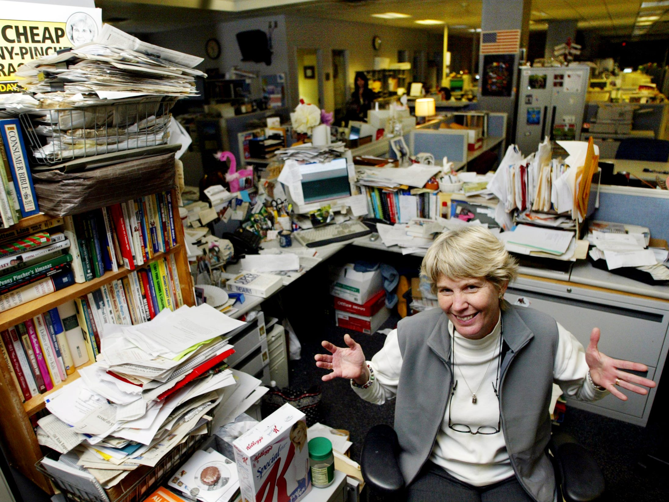 Mary Hance works at her desk at The Tennessean on Jan. 7, 2005.