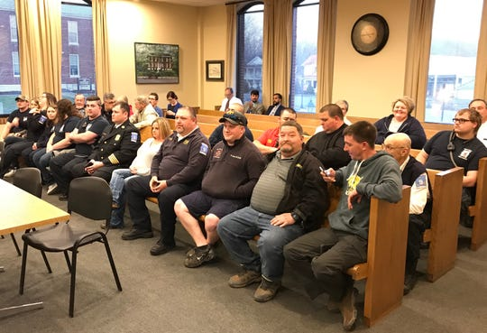 Volunteer firefighters from departments countywide were in attendance at the Dickson County Commission meeting Monday, March 18. The commission approved forming a county fire department at the meeting.