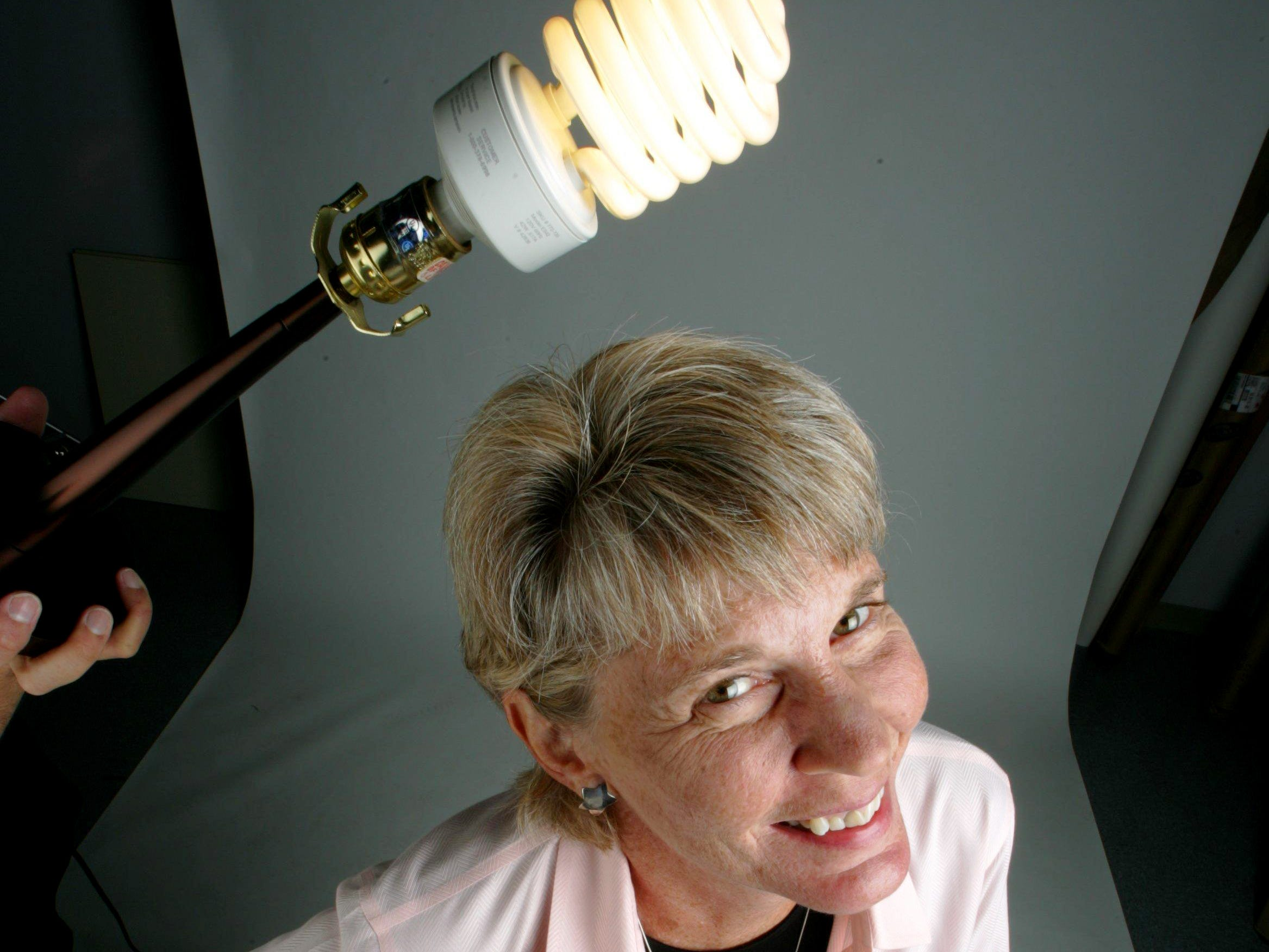 Ms. Cheap's Mary Hance poses in the studio Sept. 8, 2005, for a column on energy conservation.