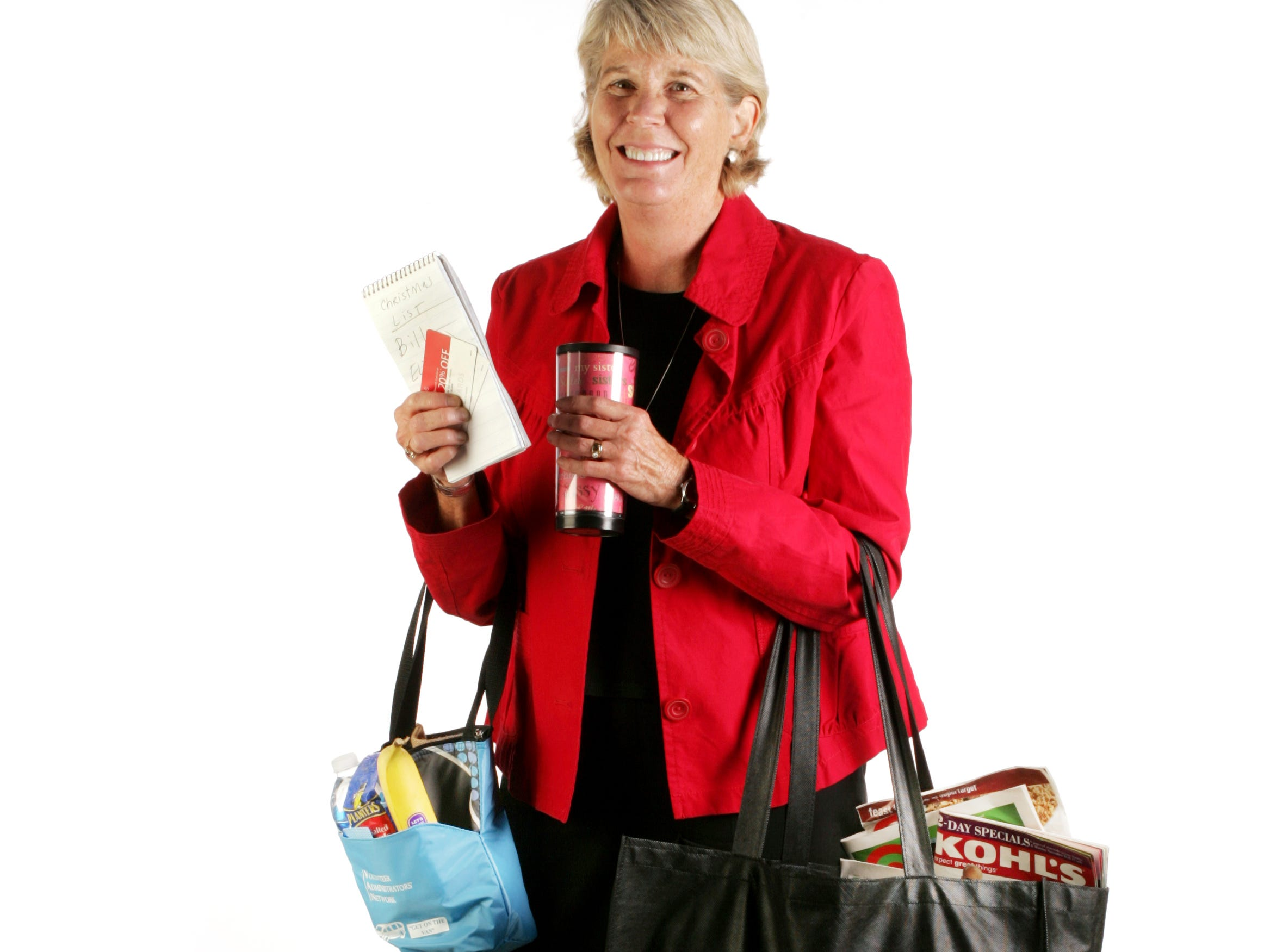 With her snacks, coupons, lists, gift cards and coffee, Ms. Cheap's Mary Hance, in the studio Nov. 18, 2008, shows that she's ready to go shopping on Black Friday.