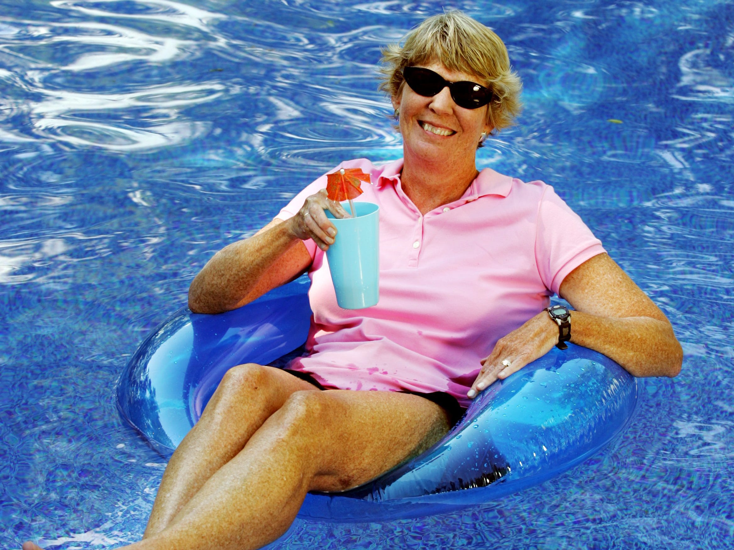 Ms. Cheap's Mary Hance poses in the pool May 20, 2005, for her upcoming summer guide.