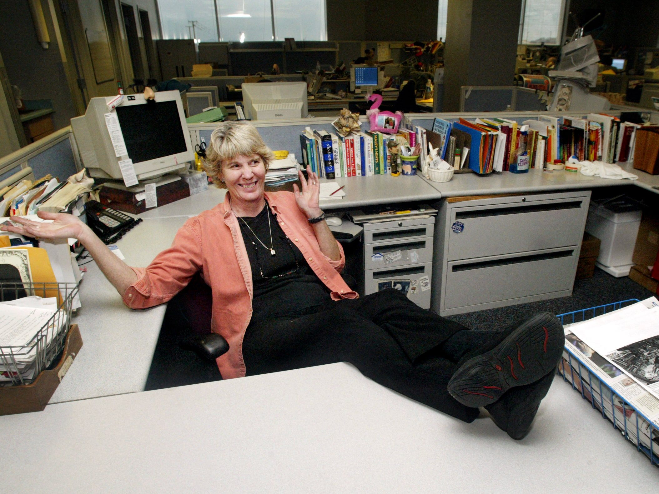 Ms. Cheap's new workspace at The Tennessean is clutter-free after her move and an extended session with a professional organizer Jan. 12, 2005.