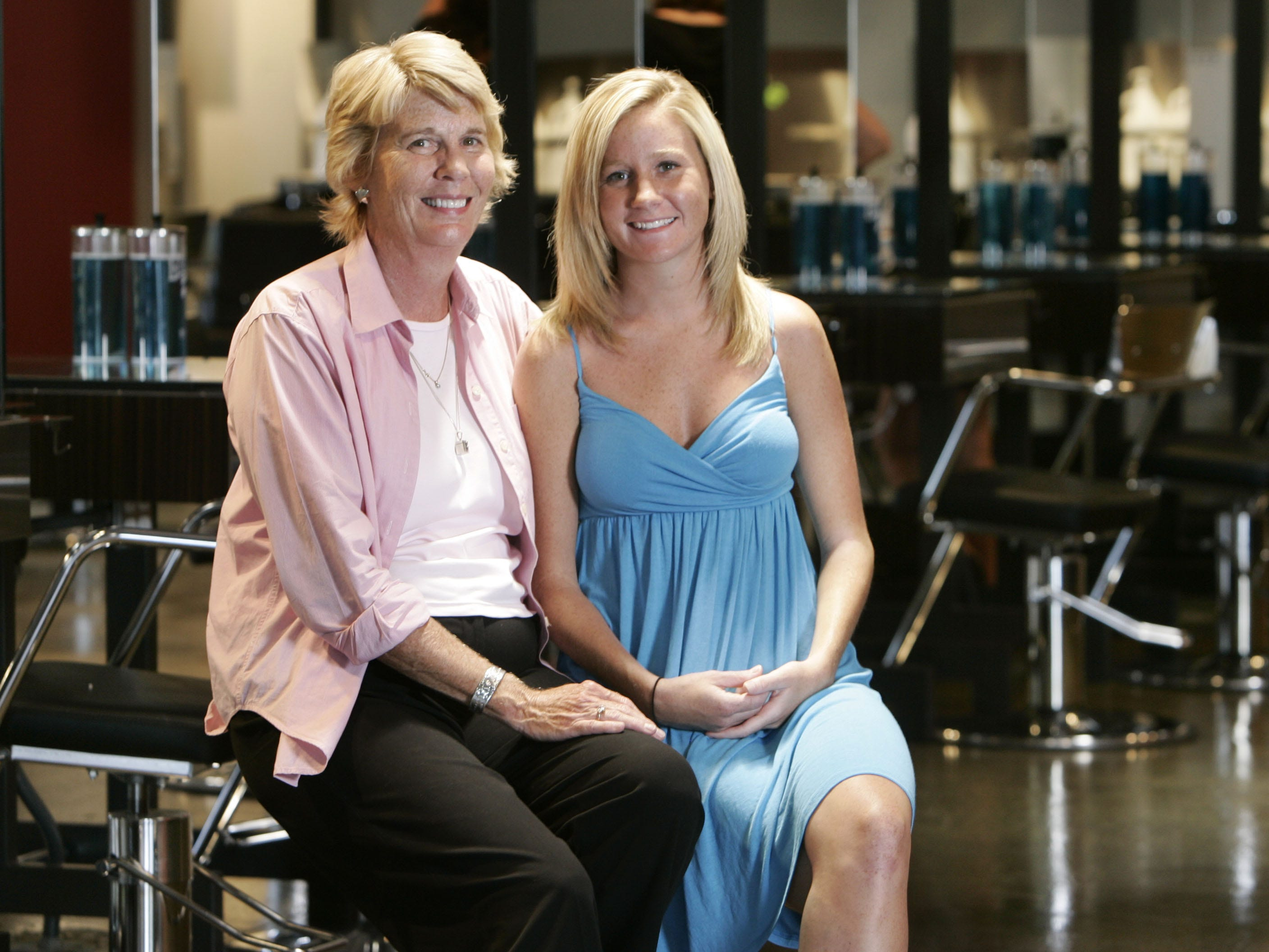 Ms. Cheap's Mary Hance poses with her daughter Anna at the Paul Mitchell Beauty School in Antioch on Aug. 6, 2007.