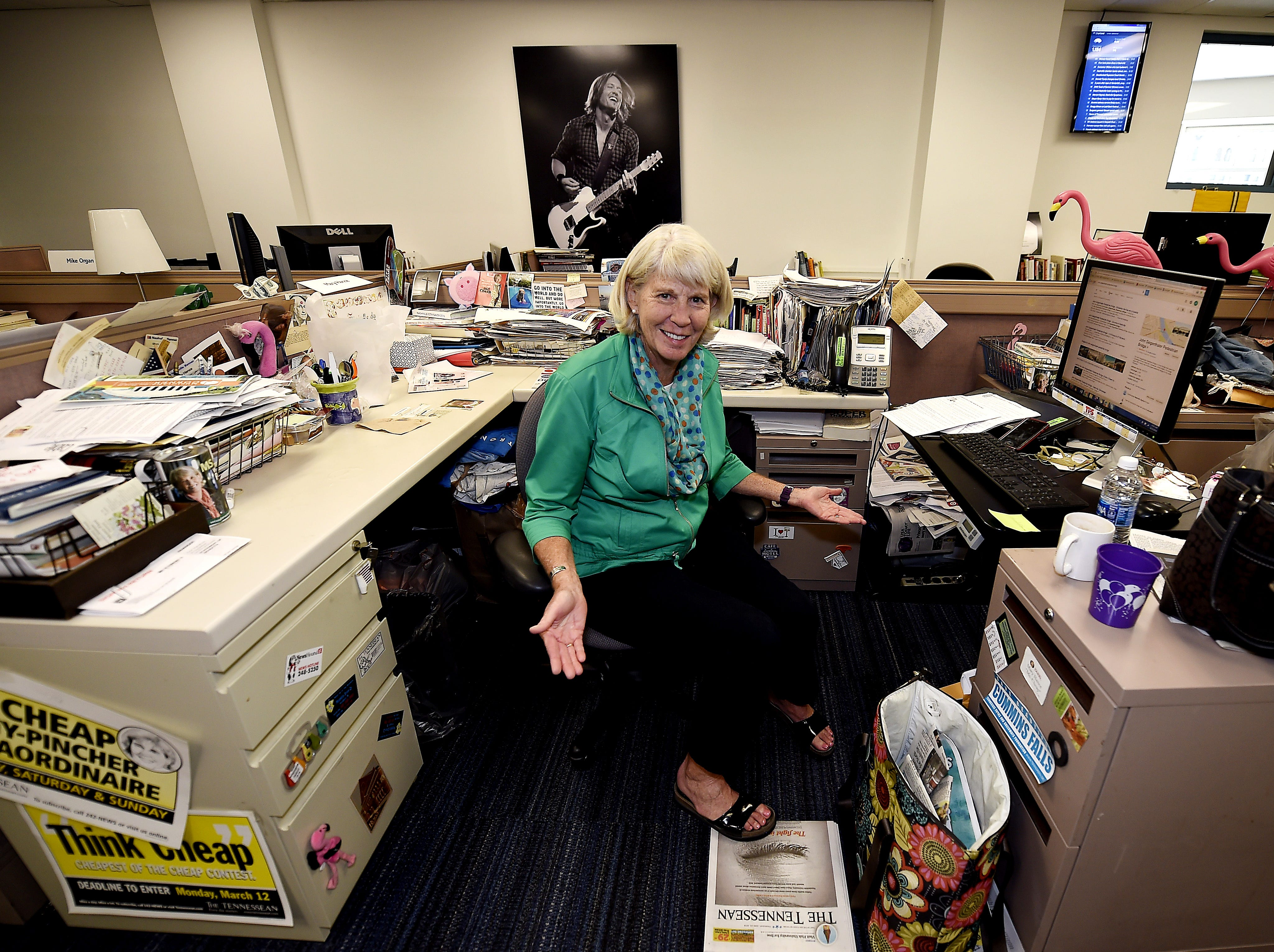 """Mary Hance's Ms. Cheap has collected lots of """"stuff"""" around her work area at The Tennessean, seen here June 23, 2016."""
