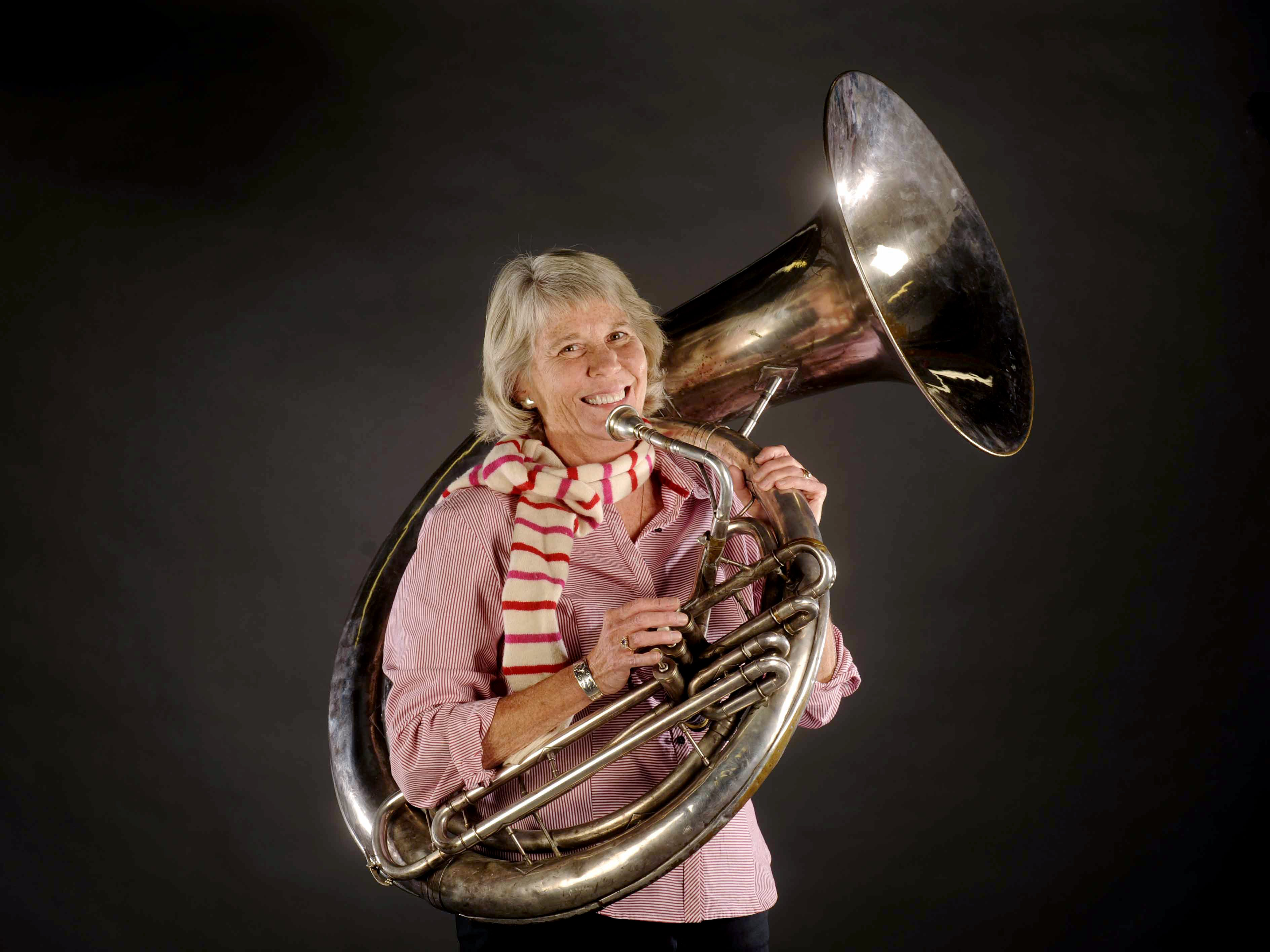 Ms. Cheap's Mary Hance gets ready Nov. 12, 2010, for A Tuba Christmas, a free Christmas concert with more than 100 tubas playing Christmas carols at First Baptist Church in downtown Nashville.