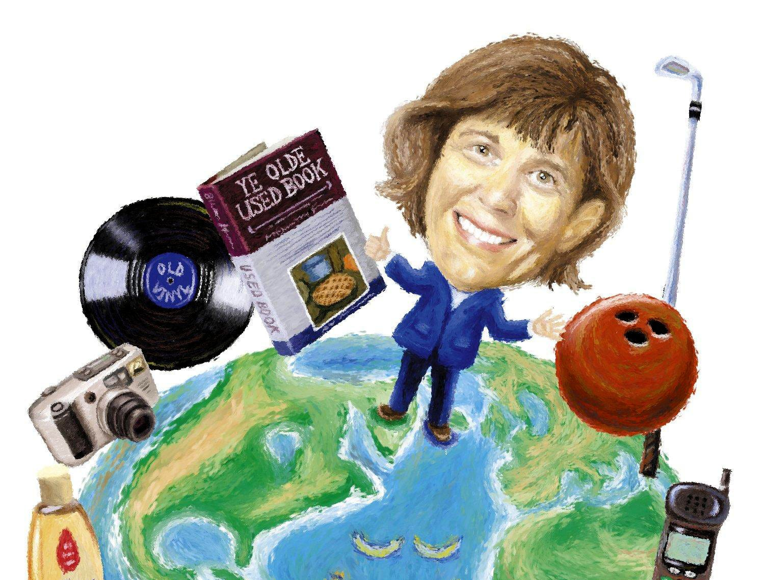 An illustration done May 15, 2002, for a Ms. Cheap story to kick off Earth Day about donating things to recycle.