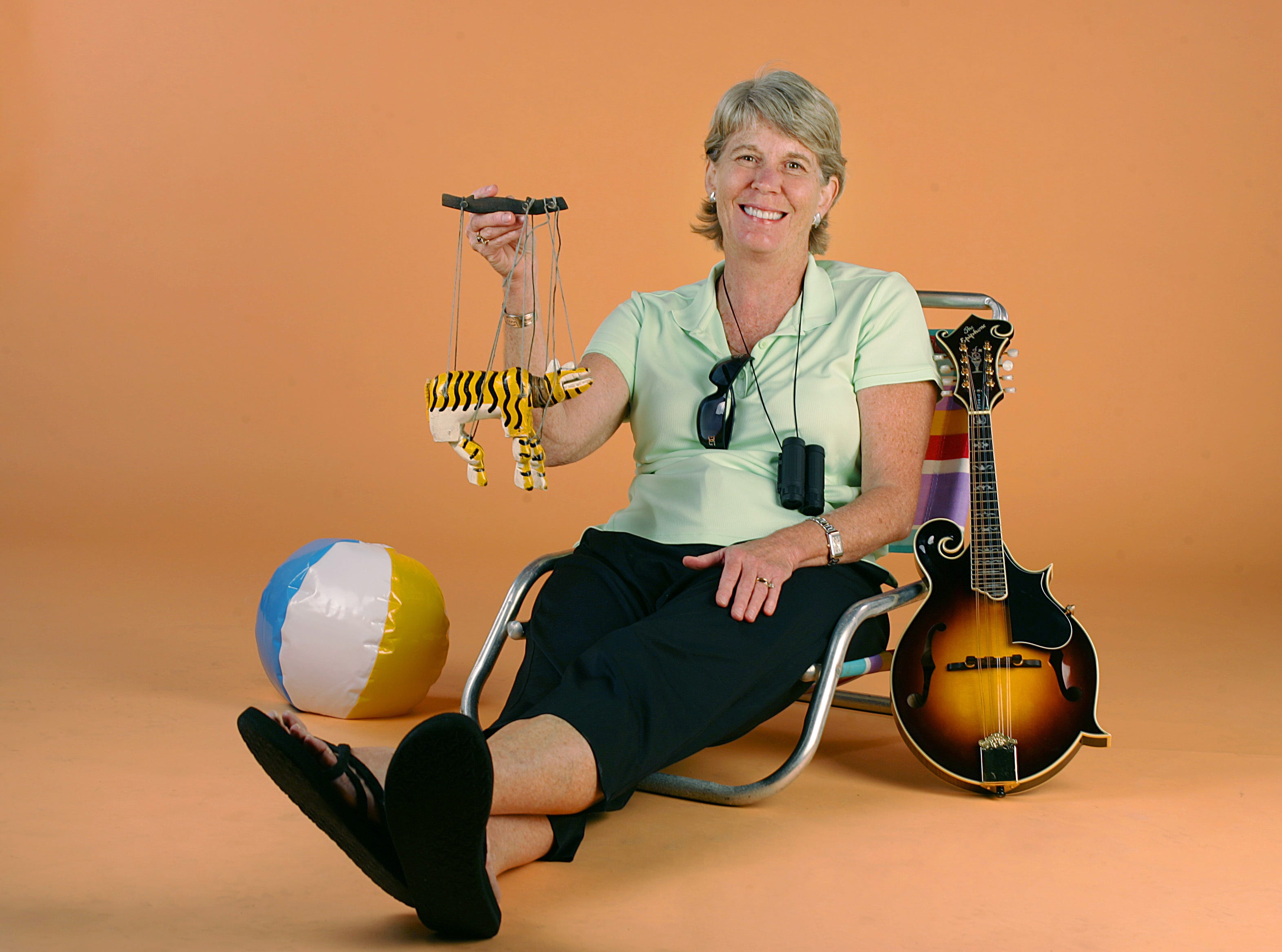 Mary Hance, in the studio May 12, 2009, shows that she is ready for summer fun.