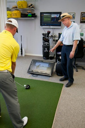 Jim Suttie, shown here in 2013 at his academy at TwinEagles, was named to Golf Magazine's Golf Teachers Hall of Fame recently.
