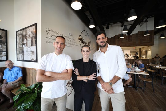 Mister O1 Extraordinary Pizza was opened in March 2019 in North Naples by franchisee Laina Kennedy, center, with Mister O1 corporate co-owners Chef Renato Viola, left, and Umberto Mascagni.