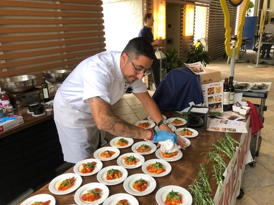 Chef Vincenzo Betulia, chef and owner of Osteria Tulia and The French restaurants in Naples, prepares homemade potato gnocchi for the NaplesNEXT gala dinner Monday, March 18, 2019, at the Naples Grande Beach Resort.