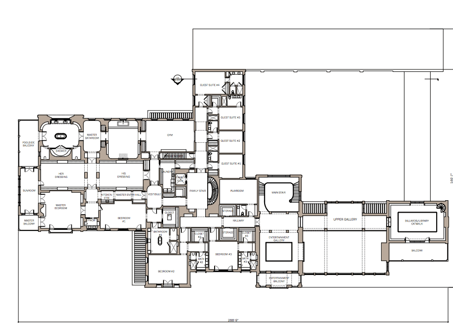 Architectural plans for the second floor of Montclair's Lloyd Estate.