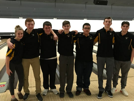 The West Milford bowling team finished second in Group 3 at the NJSIAA team finals on Feb. 13, 2019. From left: Amanda Finke, RJ Utter, Shane Yodice, Collin Goldberg, Nick Bartoli, Mikey Nicholas and Tyler Nicol.