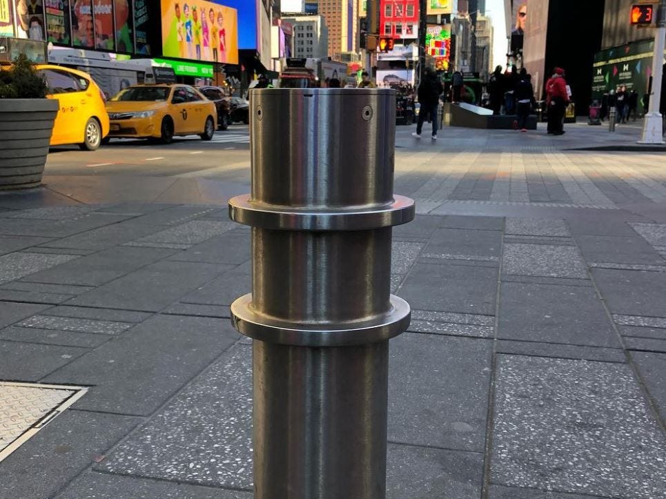 Barriers are in put in place in Times Square
