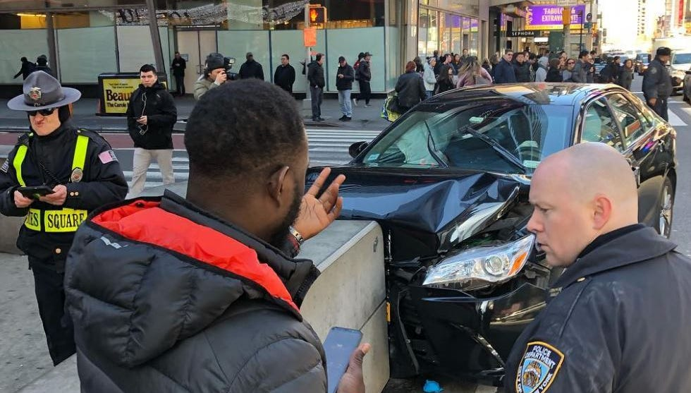 Times Square crash injures two people
