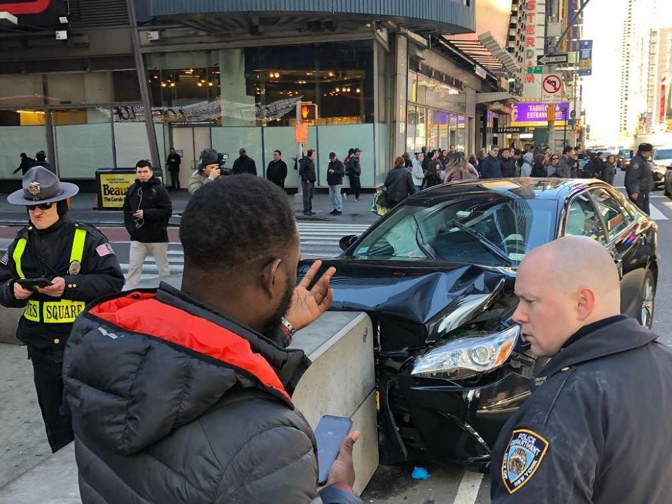 A car crashed into a barrier in Times Square at 9:07 a.m. Tuesday morning.