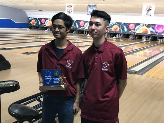 Senior bowlers Johann Gamo (with 2019 North 1B high series trophy) and Joe Paolillo completed outstanding four-year careers by leading Clifton to league, county and sectional titles this season.