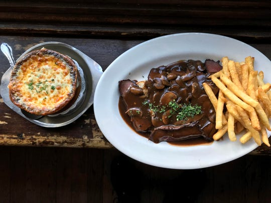 French onion soup and open steak sandwich is a filling lunch