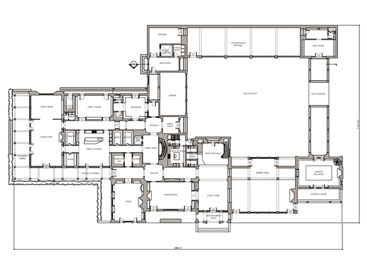 Architectural plans for the first floor of Montclair's Lloyd Estate.